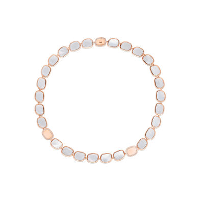 Roberto Coin Black Jade 18k Rose Gold Necklace With Mother Of Pearl And Diamond