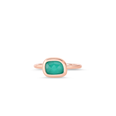 Roberto Coin Black Jade 18k Rose Gold Ring With Agate