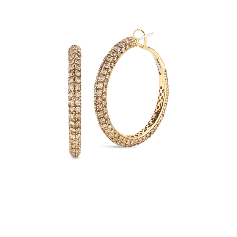 Roberto-Coin-Fantasia-18K-Yellow-Gold-and-Black-Gold-Hoop-Earrings-with-Brown-Diamonds-211537AYERBD
