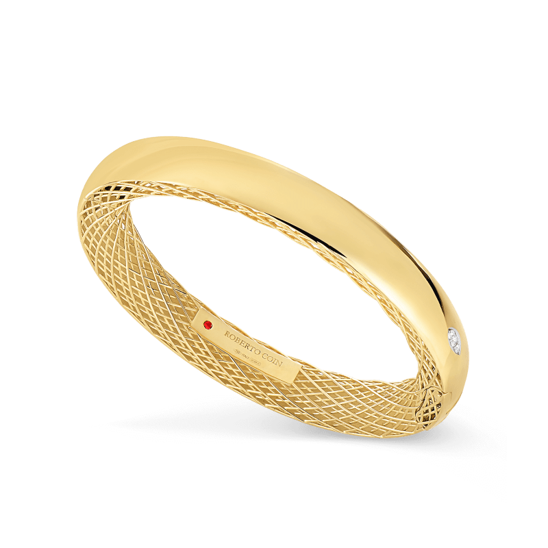 Roberto-Coin-Golden-Gate-18K-Yellow-Gold-and-18K-White-Gold-Slim-Bangle-with-Diamonds-7771093AJBAX