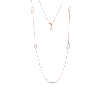 Roberto Coin Tiny Treasures 18k Rose Gold Art Deco Station Necklace With Diamonds And Mother Of Pearl