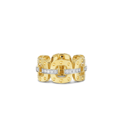 Product 18KT GOLD LINK RING WITH DIAMONDS