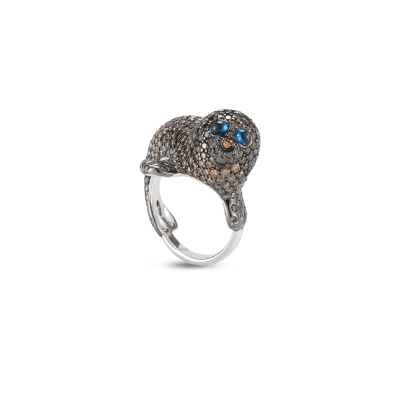 Cat Ring with Diamonds,Tourmaline and Sapphires