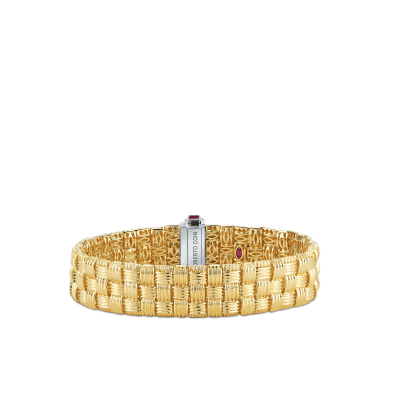 Roberto Coin Appassionata 18K Yellow Gold and 18K White Gold 3 Row Bracelet with Diamonds