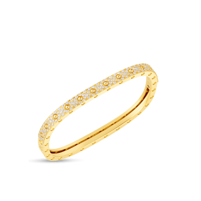 Roberto Coin Pois Moi 18K Yellow Gold 1 Row Square Bangle with Diamonds 888691AJBAXM