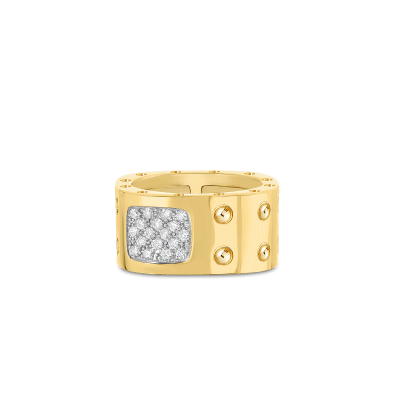 Product 18KT GOLD 2 ROW SQUARE RING WITH DIAMONDS