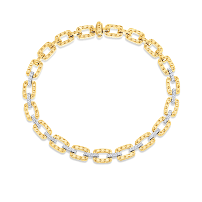 Roberto-Coin-Pois-Moi-18K-Yellow-Gold-and-18K-White-Gold-Link-Necklace-with-Diamonds-777925AJCHX0