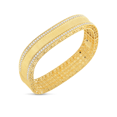 Satin Finish Bangle with Diamond Edges