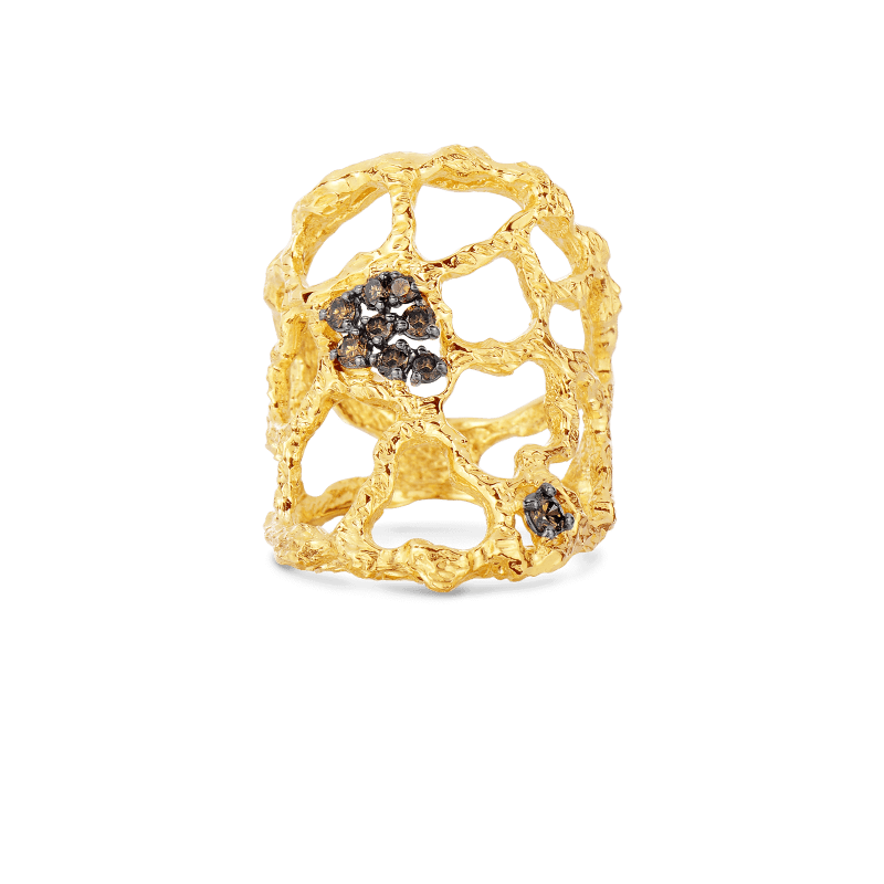 Roberto-Coin1-Tanaquilla-18K-Yellow-Gold-Cuff-Ring-with-Brown-Diamonds-273760AY70XB