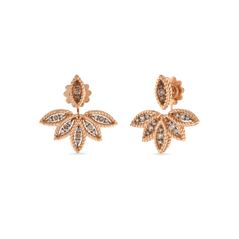 Roberto-Coin-18k-rose-gold-Brown-Diamond-Stud-Earring-with-Fan-Jackets–8882246ABERB