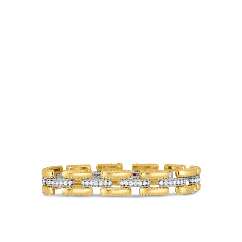 Roberto-Coin-18k-yellow-gold-18k-white-gold-Slim Retro Link Bracelet with Diamonds-7771395AJLBX