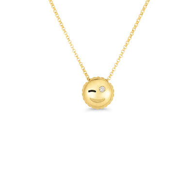WINK EMOJI PENDANT WITH DIAMONDS