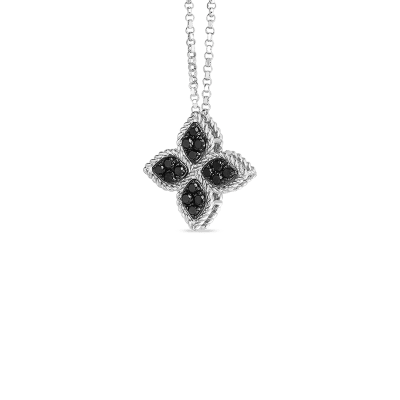 Medium Flower Necklace With Black Diamonds