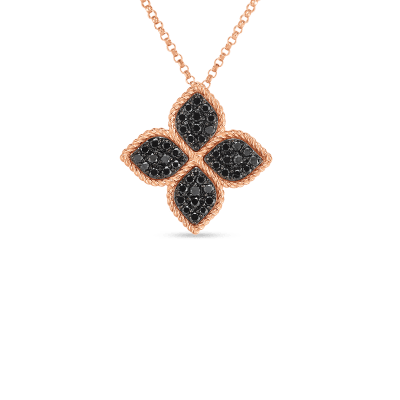 LARGE FLOWER NECKLACE WITH BLACK DIAMONDS