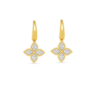 Product 18k gold & diamond medium flower drop earring