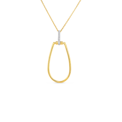 Product 18k tapered stirrup pendant with diamond accent on long chain