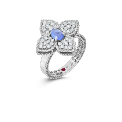 Product 18k diamond & tanzanite flower ring