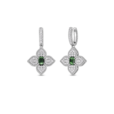 18K DIAMOND & TSAVORITE FLOWER DROP EARRINGS