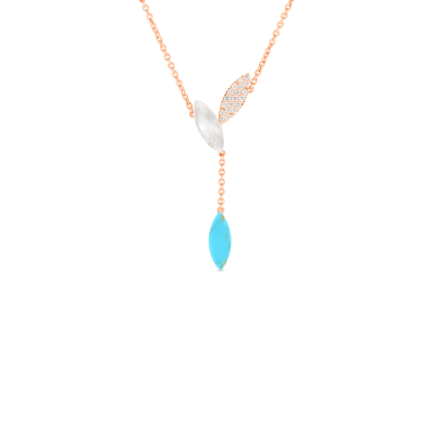 18KT GOLD PETAL PENDANT WITH DIAMONDS, MOTHER OF PEARL AND TURQUOISE