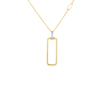 18K RECTANGULAR PENDANT W. DIA BALE ON CHAIN