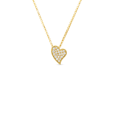 Product 18kt gold slanted heart pendant with diamonds