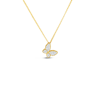 Product 18kt gold butterfly pendant with diamonds