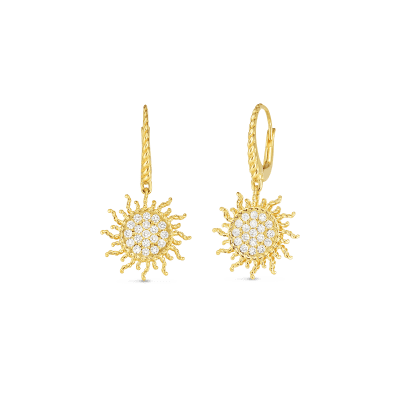 Product 18kt gold diamond sun earrings