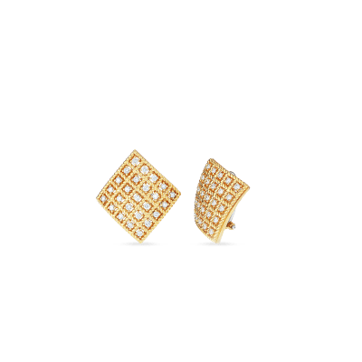 Product 18kt Gold Square Earrings With Diamonds