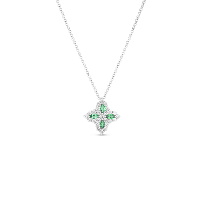 18K GOLD, DIA & TSAVORITE PRINCESS FLOWER MEDIUM PENDANT