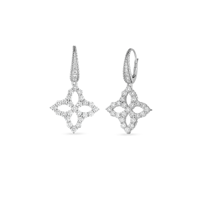 18K WHITE DIAMOND LARGE FLOWER DROP EARRING