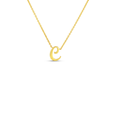 Product 18k Small Script Initial 'C' Pendant On Chain
