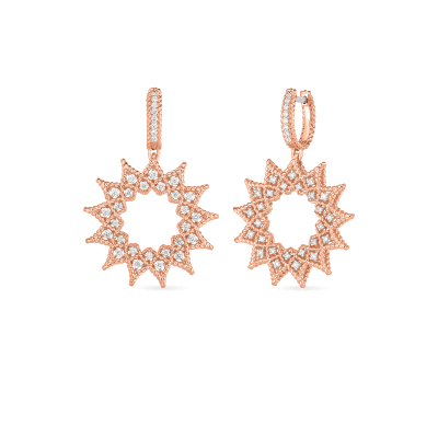 Product 18k Diamond Accent Medium Sunburst Drop Earrings