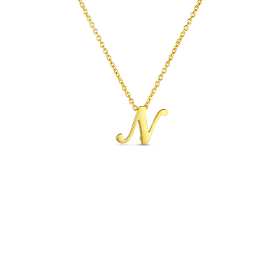 Product 18k Small Script Initial 'N' Pendant On Chain