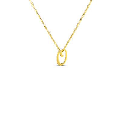 Product 18k Small Script Initial 'O' Pendant On Chain