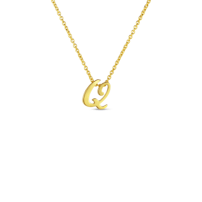 Product 18k Small Script Initial 'Q' Pendant On Chain