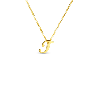 Product 18k Small Script Initial 'T' Pendant On Chain