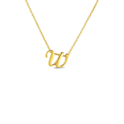 Product 18k Small Script Initial 'W' Pendant On Chain
