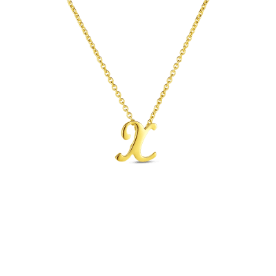 Product 18k Small Script Initial 'X' Pendant On Chain