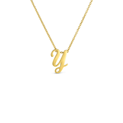 Product 18k Small Script Initial 'Y' Pendant On Chain
