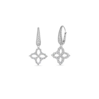 18K WG PRINCESS FLOWER OPEN DIAMOND DROP EARRING