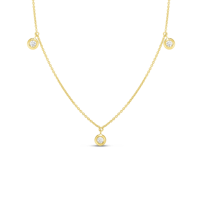 Product 18k Three Diamond Drop Station Necklace