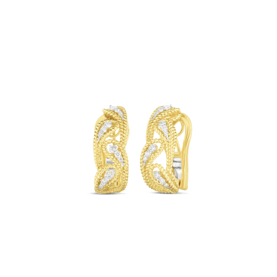 18K YW DIAMOND BYZANTINE BAROCCO ALTERNATING LEAF EARRINGS