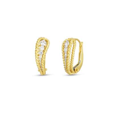 18K YW DIAMOND BYZANTINE BAROCCO SINGLE PAISLEY EARRING