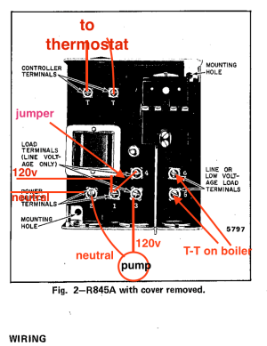 Circulator Pump Relay Wiring  Honeywell R845A — Heating