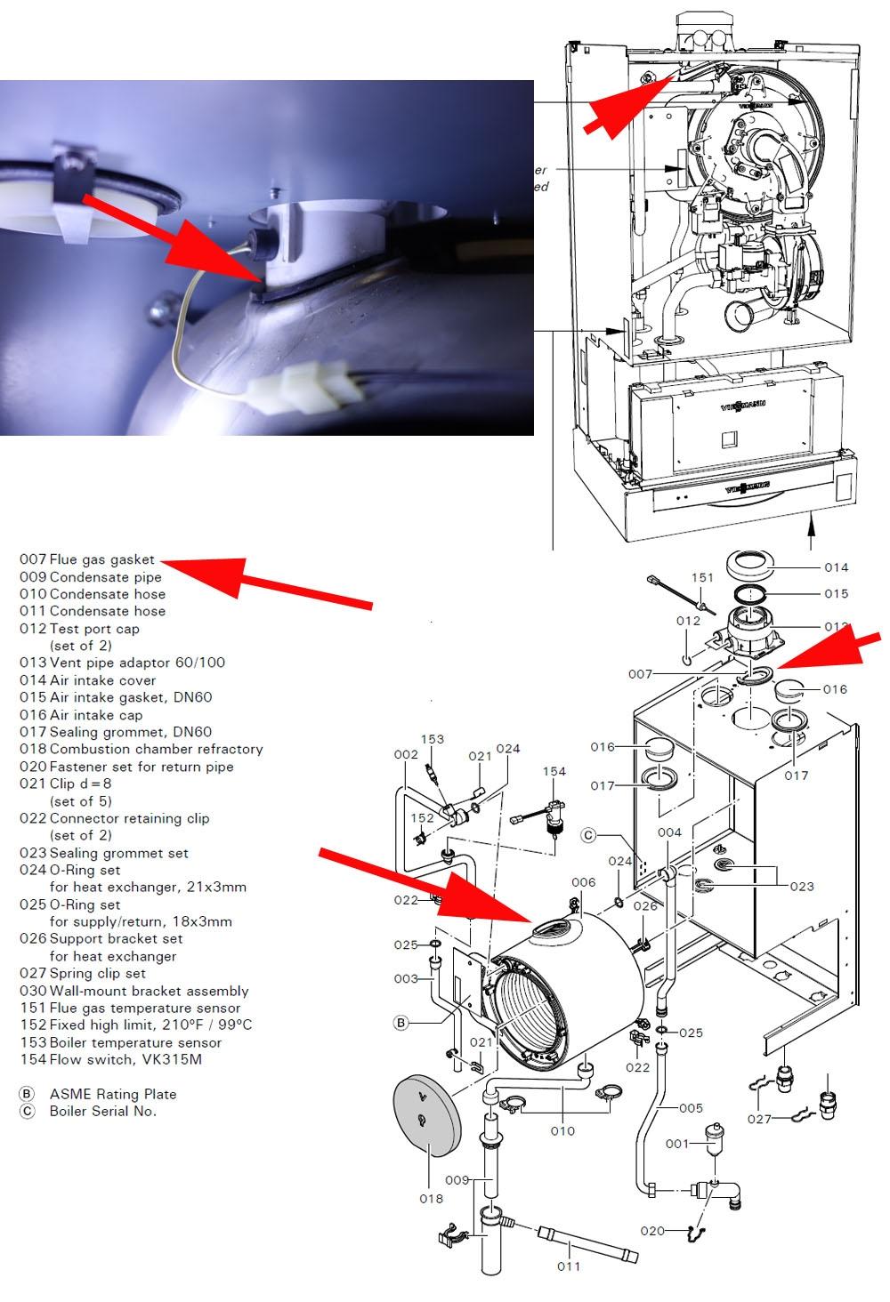 Viessmann Vitodens 200 W Wb2b Condensate Seeping Thru Flue Gas Gasket Heating Help The Wall