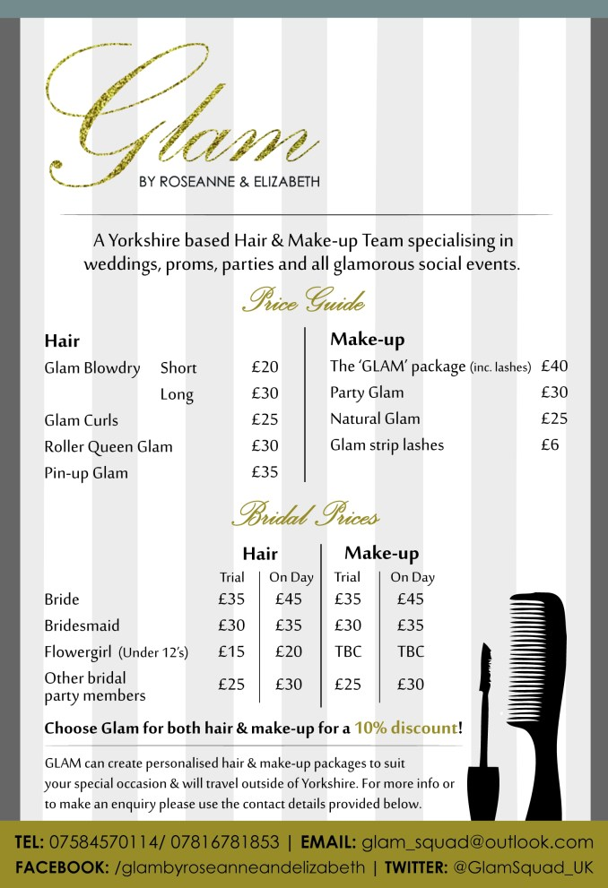 glam by roseanne & elizabeth - bridal party price list — you