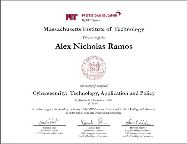 Advanced Computer Security Certificate Stanford