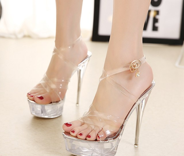 Us 45 Extreme High Heels 14cm Platform Clear Pvc Fashion Ankle Strap Slingback Sandals Shoes For Woman Ladies Evening Party Shoes Bridal Sandals