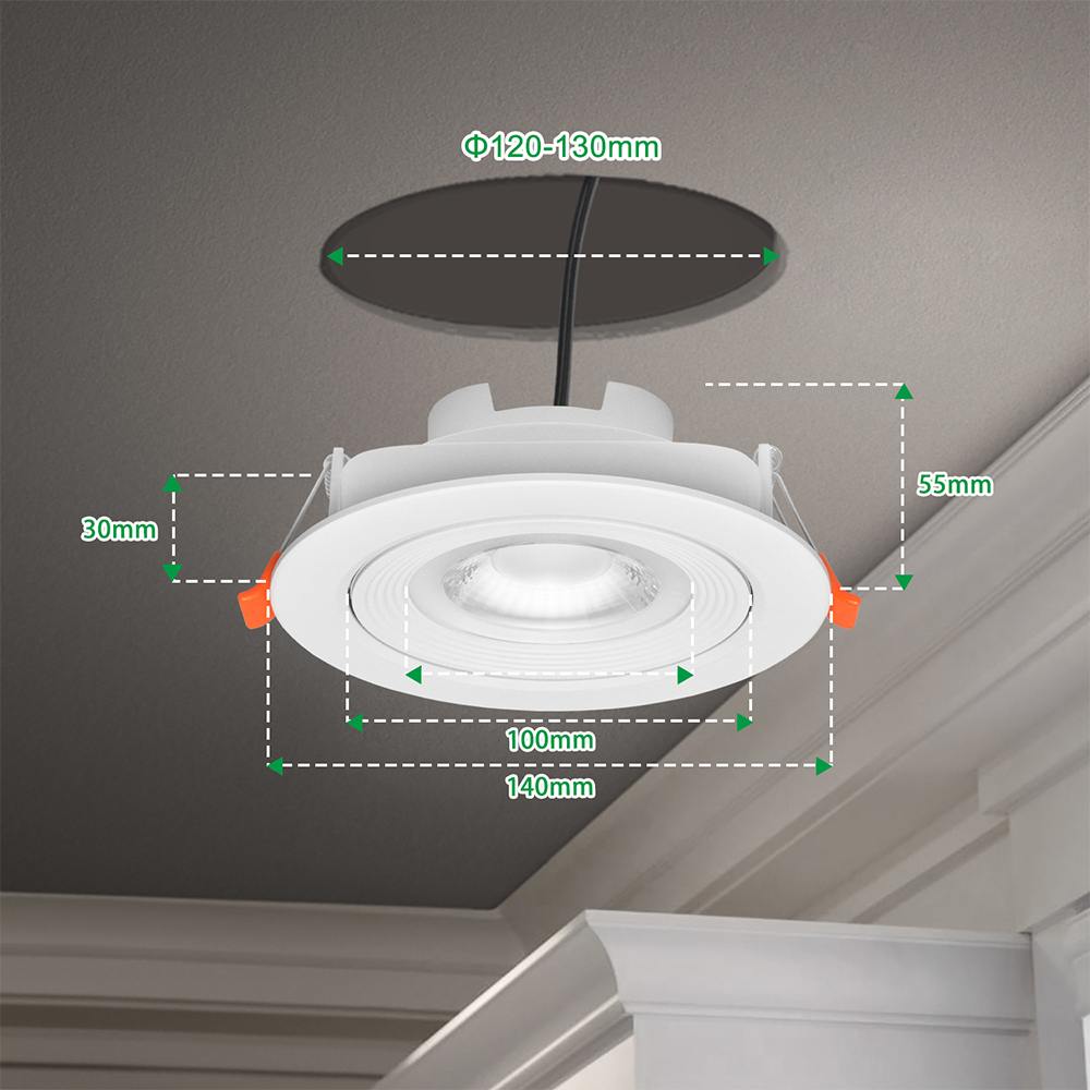 https m enuotek com 4 inch directional large led sloped ceiling recessed lamps downlights for angled ceiling warm white 3000k cut hole diameter 120 130mm ac100 240v 6 pack by enuotek p1628607 html