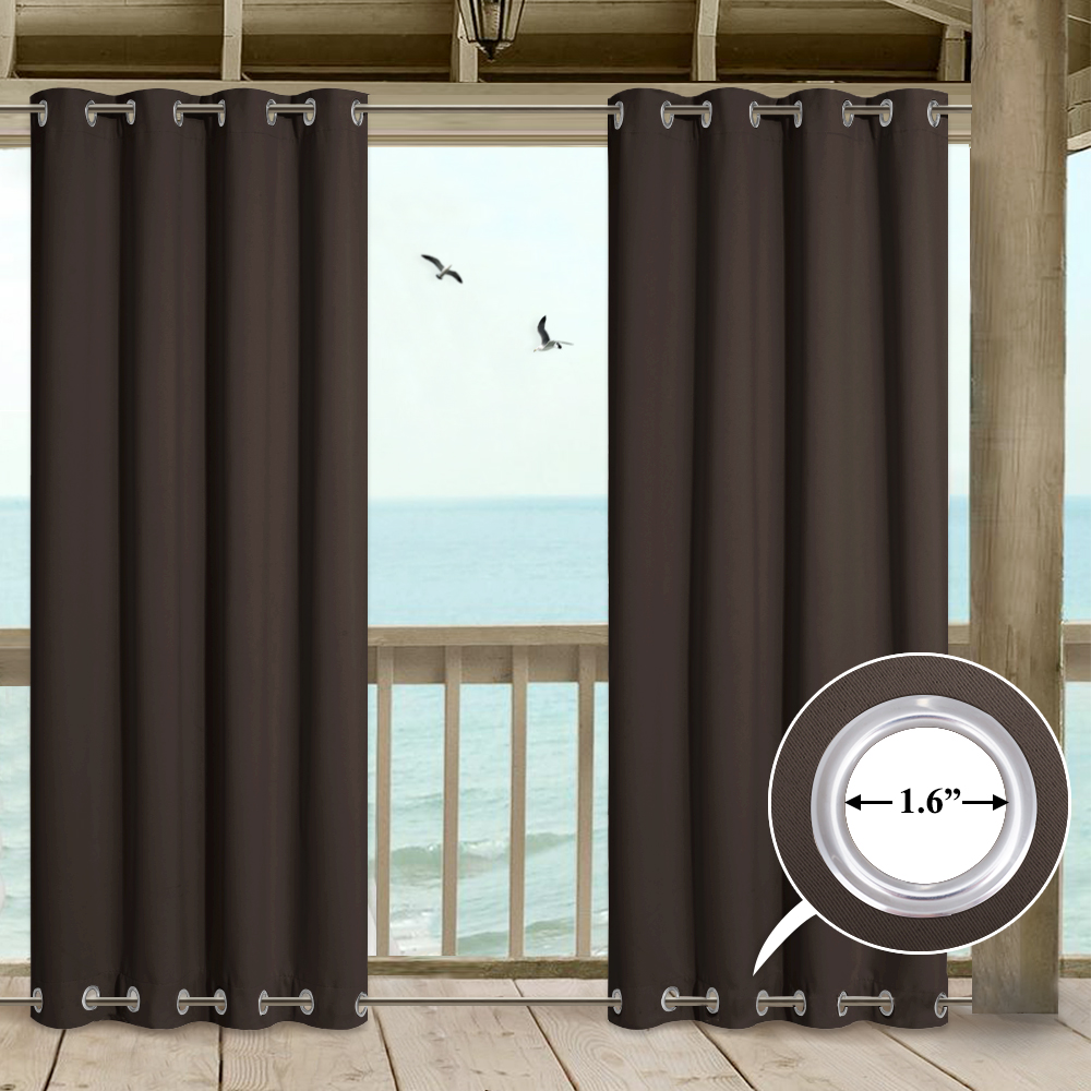 outdoor curtain drape with double grommets on top and bottom for extra wide outdoor patio 1 panel